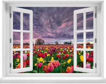 Window with a View Sunset Over Field of Tulips Wall Mural