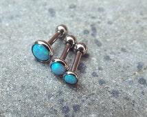 Blue Opal Triple Helix Bar Cartilage Earring Bar Upper Ear Barbell 16g 1.2mm Surgical Steel