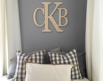 """20"""" x 24""""Wooden Monogram letters - Wall Letters- Wall Hanging- Nursery Decor- Nursery Letters- Wedding Monogram- GuestBook- Wedding Decor"""
