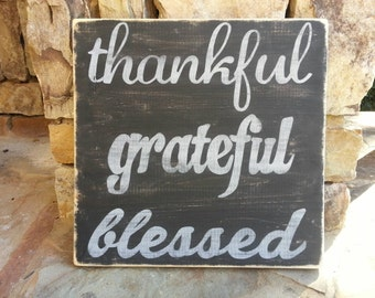 Thanksgiving Wood Sign, 12x12, Shelf Sitter or Hanging, Black and Gray Distressed