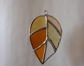 Stained glass leaf suncatcher