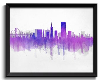 Blue Purple Grey San Francisco Skyline California USA United States Cityscape Art Print Poster Watercolor Painting