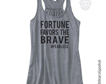 FORTUNE FAVORS the BRAVE, flow racerback tank top, fitness,yoga,pilates,gym,workout,