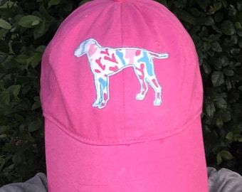 Lilly Dog Hat with large monogram on back