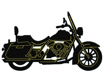 Motorcycle Bike Silhouette Black and Gold fill Embroidery Design file 4 sizes Instant Download