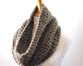 chunky cowl, crocheted infinity scarf, snood, circle scarf, knit neck warmer  color: Barley Brown
