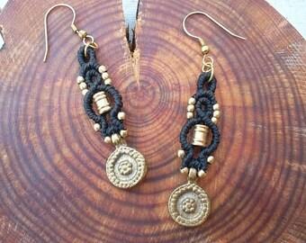 Hand made Macrame earrings , just waxed thread & brass beads!!