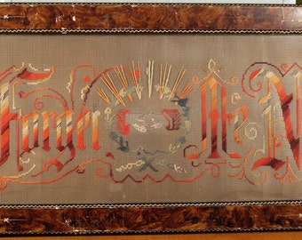 "19th c. Embroidery ""Forget Me Not"" Motto on Punched Metal, Original Carved Frame, Glass"