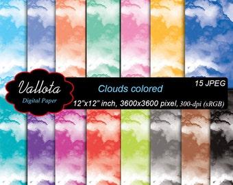 Cloud Digital Paper, color clouds, smoke, Digital Paper