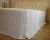 Linen Box Pleated Bedskirt With Ties. Natural Flax Bed Sheet, Eco bed sheet with ties,Organic flax sheet .Full/Double, Queen and King sizes