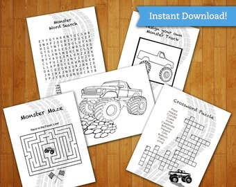Monster Truck Printable Coloring Page and Activity Sheets Pack - Party Favors Birthday Decorations - Blaze Themed Machines Party Download