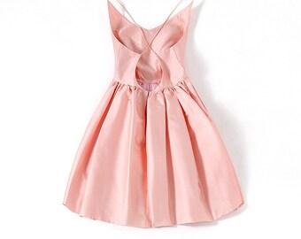 100% Mulberry Silk Backless Prom Dress, Knee Length