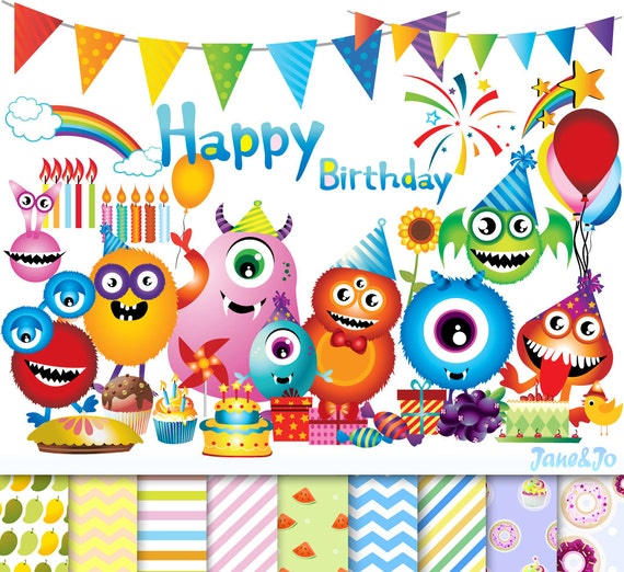 90 Happy birthday cliparts 9 Digital papersMonster birthday