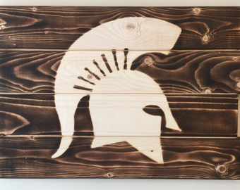 Small Michigan State Spartans football man cave wood sign 21x14