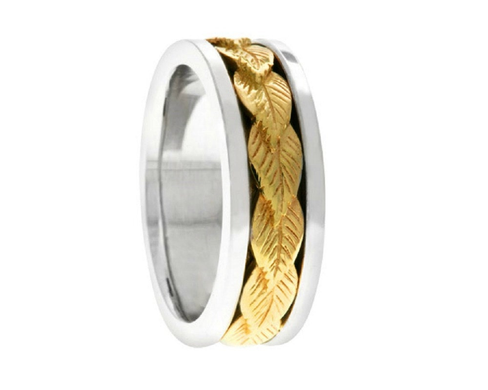 leaf design ring wedding band 7mm wide two tone mult by
