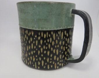 Handmade Ceramic Mug/Coffee Cup/ Tea Cup/Black and Blue/ Stoneware