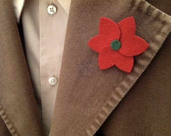 Red lily lapel pin flower, attire accessory for man, christmas male gift ideas.