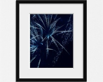 Fireworks photography, living room decor, sparkle prints, aqua blue wall art, abstract photo, fireworks print, blue wall decor, celebration,