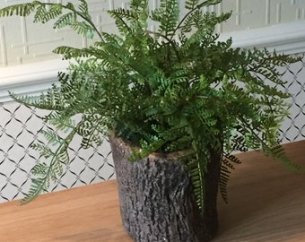 Realistic top quality artificial real touch fern houseplant plant in a stone bark-like planter