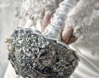 Vintage inspired brooch bouquet, silver bouquet, beaded bouquet, wedding bouquet