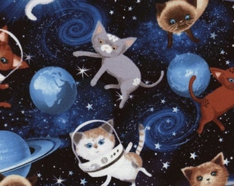 Cats & Dogs - Space Cats Fabric - Space - sold by the 1/2 yard