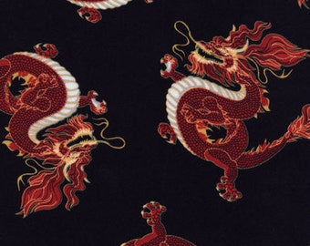 Novelty - Red Dragon Fabric - Black - sold by the 1/2 yard