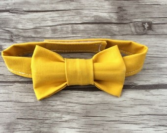 Baby Bow Tie- Mustard Yellow Bow Tie- Modern Bow Tie