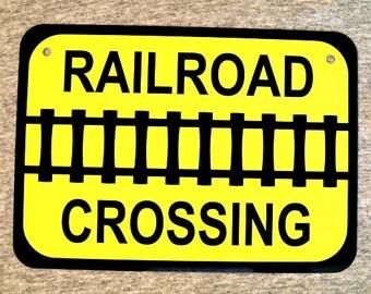 Metal Sign RAILROAD CROSSING railway rail transport train tracks trains freight locomotive wall decor man cave