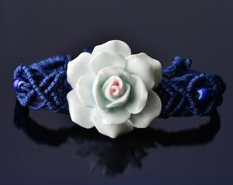 30% Sale Chinese rose flower macramé china bracelet blue flower bracelet china bracelet rose porcelain macrame china bracelet blue macrame c