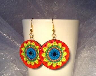 Hand painted Boho earrings