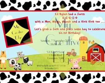 Farm Yard Digital Birthday Invitation