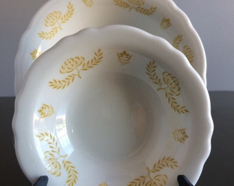 Trentwood Restaurant Ware Bowls by Homer Laughlin for Marriott Washington DC Ivory with Yellow Flowers and Scalloped Edge
