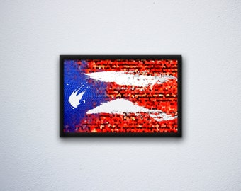 Puerto Rico flag art - Unique gritty abstract Puerto Rican wall art