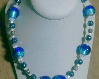 Blue Glass Lampwork Necklace