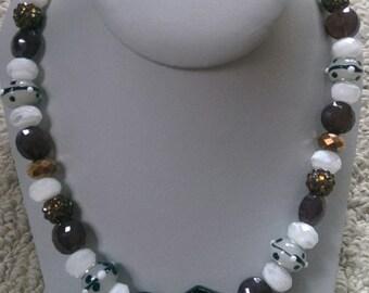Glass Lampwork Oblong Necklace