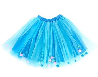 Blue Pompom Tutu Skirt