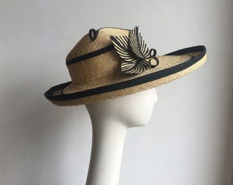 Black & Tan Straw Wide Brim Hat