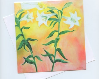 Waldorf art, blank, watercolor cards, Lilies with Angel, fine art, botanical cards, Wedding card, Mothers day card, birthday and Valentines