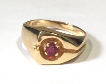 Ruby Band Style 14K Yellow Gold Fashion Ring, July Birthstone Ring/ Birthday Gift