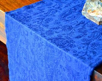 100% Pure Pashmina/Cashmere Scarf - Dark Blue/Paisley/Floral