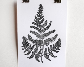 Black and White, Fern, A5 Screen Print