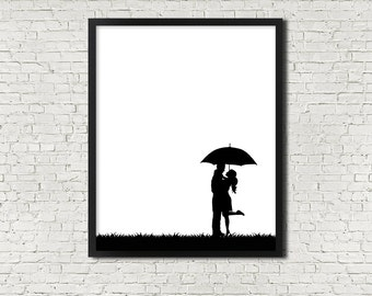Cute Black White Rain Couple Umbrella INSTANT PRINTABLE DOWNLOAD Wall Art Digital Poster Print Silhouette Love Modern Minimalist