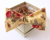 Gold and Red Floral Bow Tie - Mens Freestyle Bow Tie - Womens Yellow Bow Tie - Vintage Bow Tie - Fall Wedding Bow Tie