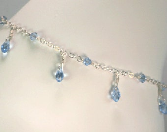 Something blue anklet, bridal blue anklet, classic Swarovski blue crystal anklet, tear drop blue anklet, soft blue brides ankle bracelet