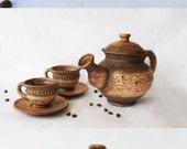 Ceramic tea Set Ceramic tea pot with mugs Handmade tea pot Art pottery Kitchen dish Tea cup with saucer Serving set Cup with saucer Brown