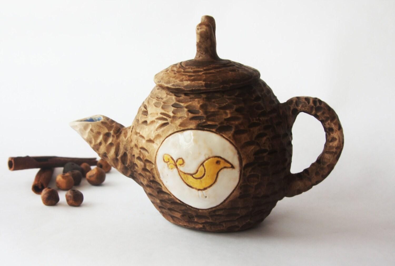 Unique Ceramic Teapot One Of Kind Gift Handmade Teapot Bird