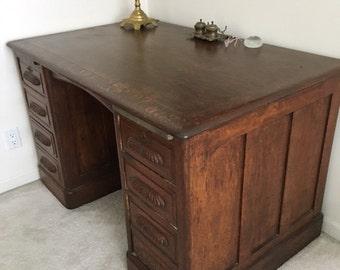 Antique Solid Oak Executive Desk