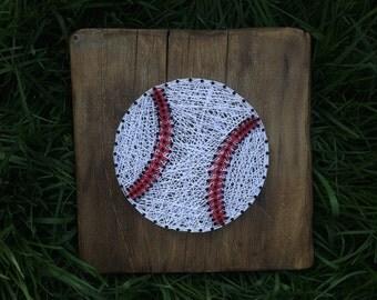 Baseball// String Art// Wooden Sign