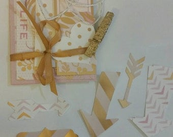 Journal Notes Cards Labels Tags - Stationary Kits - Gold and Pink