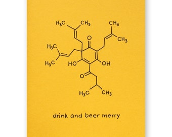 Beer Christmas Holiday Card - Chemistry Science Nerd Geek Card - Science of Beer